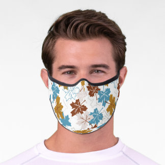 Blue And Brown Failing Leaves Autumn Pattern Premium Face Mask