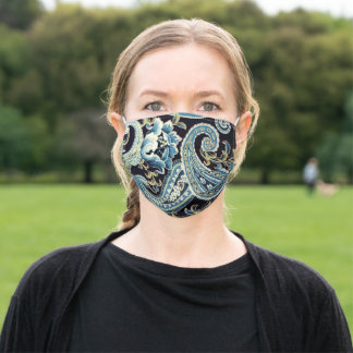 Blue and Brown Vintage Paisley Adult Cloth Face Mask