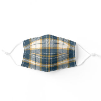 Blue and Gold Plaid Tartan Preppy Adult Cloth Face Mask