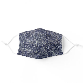 Blue and Gray Abstract Mens Adult Cloth Face Mask