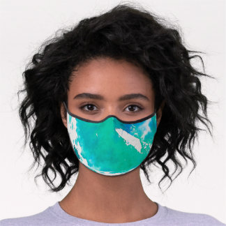Blue And Green Watercolor Premium Face Mask