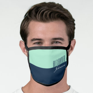 Blue and Mint Simple Name Monogram Face Mask