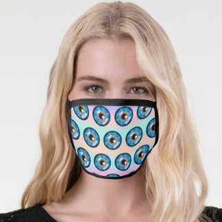 Blue and orange iris eyeball pattern face mask