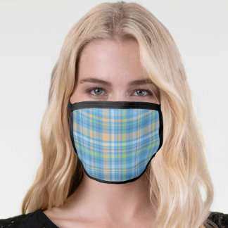 Blue And Peach Pastel Plaid Pattern Face Mask