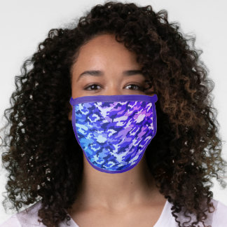Blue and Purple Camouflage Face Mask