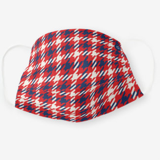 Blue and red houndstooth plaid pattern monogram cloth face mask