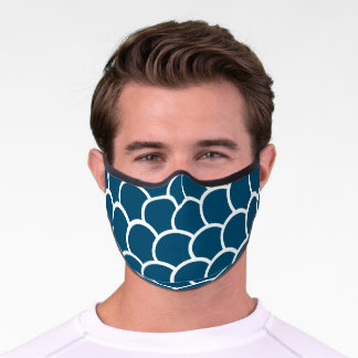 Blue and White Fish scale Print    Premium Face Mask