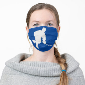 BLUE AND WHITE HOCKEY ADULT CLOTH FACE MASK