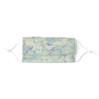 Blue and White Marbled Paper Adult Cloth Face Mask
