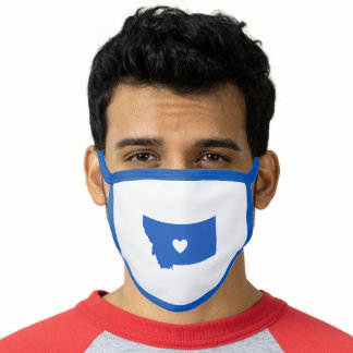 Blue and White Montana Love Face Mask