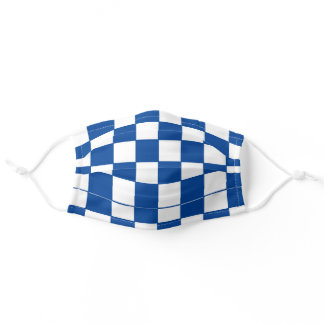 BLUE AND WHITE RACING CHECKER ADULT CLOTH FACE MASK