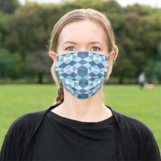 Blue and White small geometrical triangles Adult Cloth Face Mask