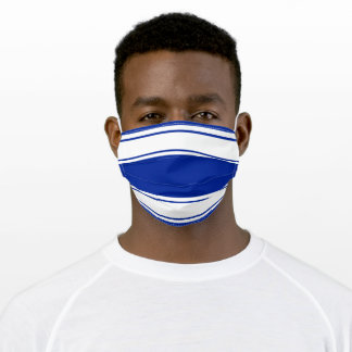Blue and White Sports Stripe Adult Cloth Face Mask