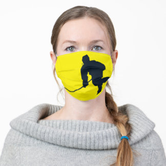 BLUE AND YELLOW HOCKEY ADULT CLOTH FACE MASK