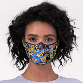 Blue Aqua Turquoise Orange Black Floral Paisley Premium Face Mask
