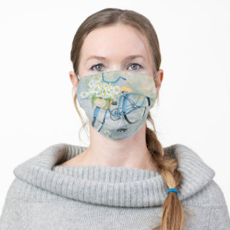 blue bicycle with daisies adult cloth face mask
