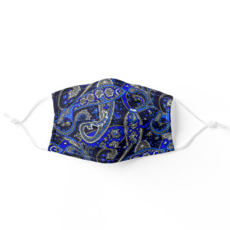 Blue Black and Grey Paisley Adult Cloth Face Mask