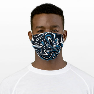 Blue, Black and White Estonia Swirls Adult Cloth Face Mask