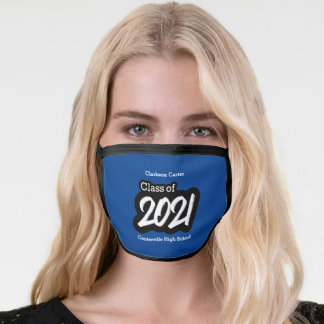 Blue Bold Brush Class of 2021 Face Mask