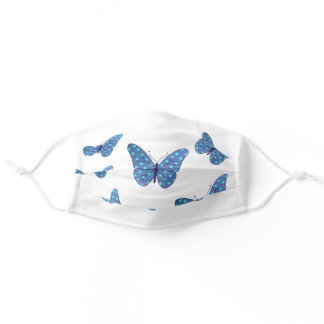 Blue butterflies adult cloth face mask