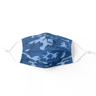 Blue Camouflage Adult Cloth Face Mask