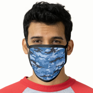 Blue Camouflage Blueberry Camo Pattern Face Mask