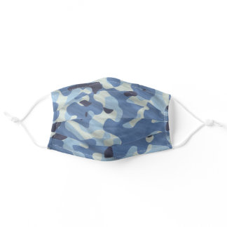 Blue Camouflage Pattern Simple For Him Adult Cloth Face Mask