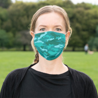 Blue Camouflage Pattern Social Distancing Adult Cloth Face Mask
