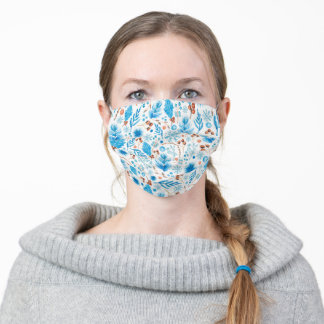 Blue Christmas Pattern Adult Cloth Face Mask