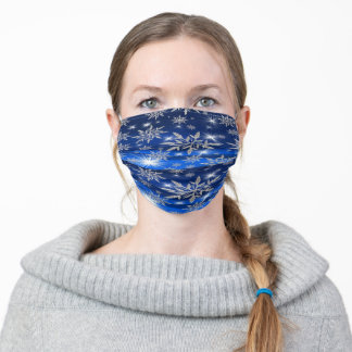 Blue Christmas Snow Flakes Adult Cloth Face Mask