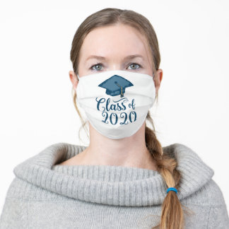Blue Class of 2020 Graduation Cap Adult Cloth Face Mask
