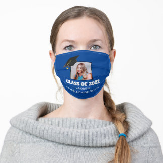 Blue Class of 2022 High School Senior Photo Name Adult Cloth Face Mask
