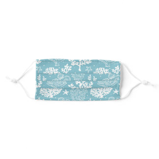 Blue Coral Pattern Adult Cloth Face Mask