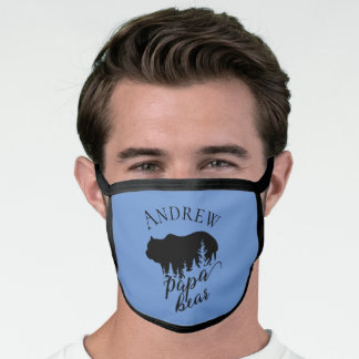 Blue Customizable Black Papa Bear & Quote Face Mask