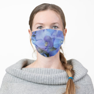 blue floral hydrangea flowers adult cloth face mask