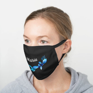 Blue Floral Personalized Name Black Cotton Face Mask