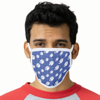 Blue Football Grid Patterned Face Mask