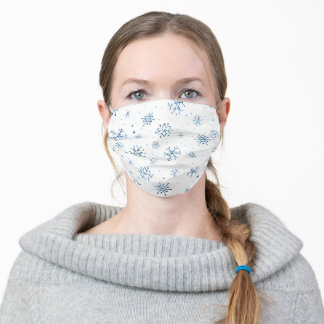 Blue Glitter Snowflakes Adult Cloth Face Mask