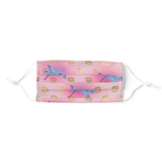 Blue glowing dragonfly, over pink with gold lips adult cloth face mask