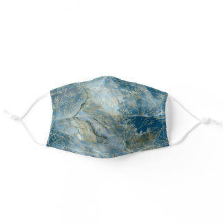 Blue Gold Geode Marble Abstract Floral Adult Cloth Face Mask