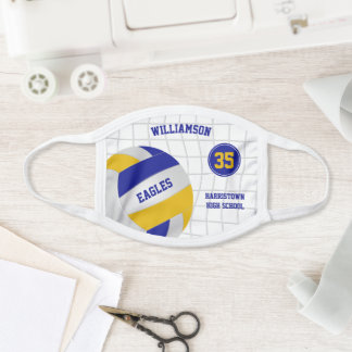 blue gold school club team colors volleyball face mask