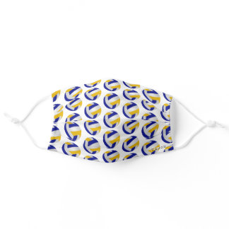 blue gold team colors volleyballs pattern adult cloth face mask