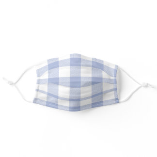 Blue Gray and White Buffalo Plaid Simple Pattern Adult Cloth Face Mask