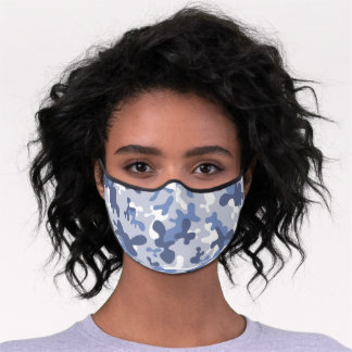 Blue gray camouflage pattern premium face mask