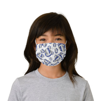 blue gray team colors girls volleyball net accent kids' cloth face mask