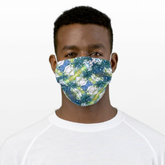 Blue & Green Abstract Face Mask