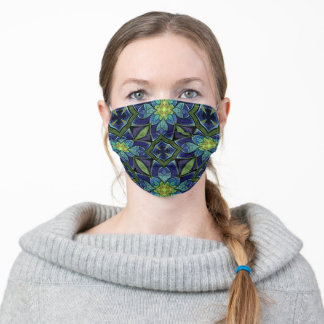 Blue & Green Abstract Floral Stained Glass Pattern Adult Cloth Face Mask