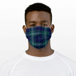 Blue Green and White Scotish Tartan - Adult Cloth Face Mask