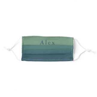 Blue Green Ombre Gradient Monogrammed First Name Adult Cloth Face Mask