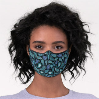 Blue & Green Paisley Premium Face Mask
